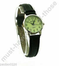 Ladies Watch, Easy Read Glow in The Dark Dial, Black Leather Strap, By Mabz