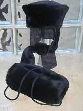 LAURA ASHLEY VINTAGE 80's NAVY FAUX FUR & VELVET COSSACK HAT & HAND MUFF SET