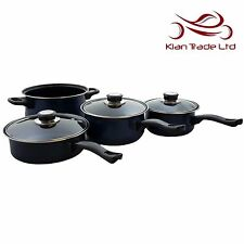 7PCS Non-stick Cookware Set Carbon Steel Saucepans Glass Lids Casserole Kitchen