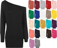 T-Shirt Einfarbig Langärmelig Flügelärmel Stretch Tunika Top 36 - 48 Neu