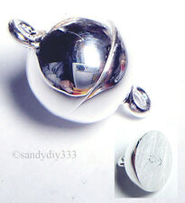 1x STERLING SILVER BRIGHT ROUND BALL MAGNETIC CLASP 10mm N389