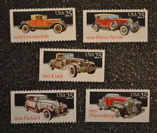 1988USA #2381-2385  25c Classic Cars -Set of 5 Singles From Booklet - Mint  NH