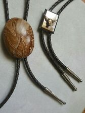 Western Bolo Tie Lot of 2 Steer Cow Bull Natural Stone