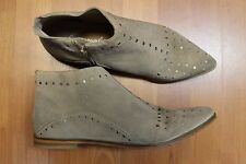 NEW Free People Beige Suede Leather Studded Flats Booties Shoes 41 10 10.5 M