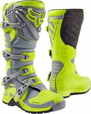 Fox Racing Youth Flo Yellow Gray Comp 5 Dirt Bike Boots Motocross MX 2017 SIZE 7