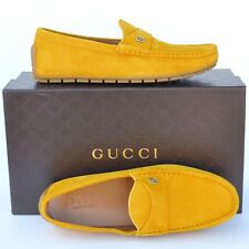 GUCCI New sz 11 G - US 11.5 Authentic Designer Mens Drivers Loafers Shoes yellow