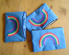 Rainbow embroidered blue cotton coin purse tobacco phone earbud pouch zip gift