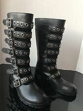Marc Jacobs Greenwich Studded Buckle Leather Mid-Calf Black Moto Boots NWT$698~7