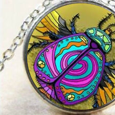 Egyptian Rainbow Scarab Beetle, Silver Pendant Necklace Gift, Symbol of Egypt