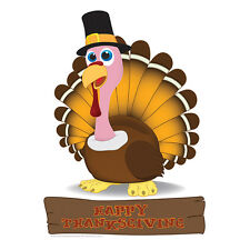 TURKEY Thanksgiving 3 Foot Tall Happy Pilgrim CARDBOARD CUTOUT Standup Standee