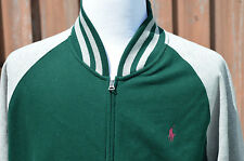Ralph Lauren Polo Rugby Varsity Baseball Knit Sweater Jacket XL Green Red Pony