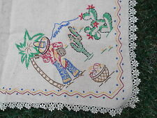 """vtg beige lace linen mexican amigo embroid card table cloth 36"""" stamp kit MINT"""