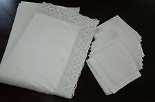 natural autehntic vintage lithuanian 100%linen flex tablecloth and 12napkins set