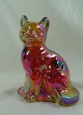 Fenton Sitting Cat Ruby Red Carnival Solid Glass Cat Kitten Kitty Feline
