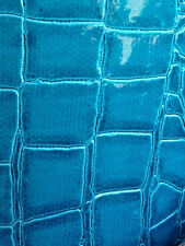 crocodile faux leather vinyl fabric turquoise color by the yard
