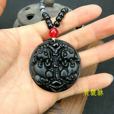 Wealth of god beast(pixiu) Black glass Amulet Pendant Necklace