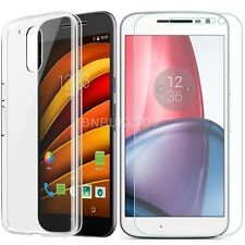 Clear Ultra Slim Gel Case and Glass Screen Protector for Motorola Moto G4 (2016)