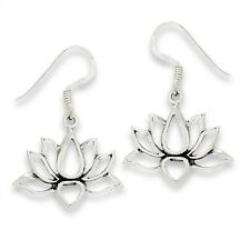 Open Style LOTUS Flower Sterling Silver Hook Dangle Earrings Jewelry