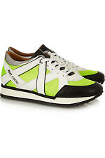 JIMMY CHOO Yellow Lime London Neon Mesh And Leather SNEAKERS Flat Shoe 36.5- 6