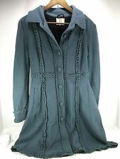 Women's NOA NOA Long trench Coat Blue w/ ruffles 100% Wool Sz Small