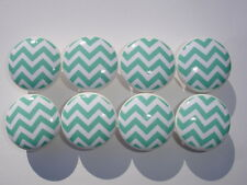 Aqua and White Chevron Dresser Drawer Knobs--Set of 16