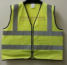 Reflective Bib Vest Zip Zipped Hi Vis day glow Yellow Motorcycle Bike one size
