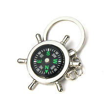 Newest Portable Alloy Silver Nautical Compass Helm Keychain Ring Chain Sports