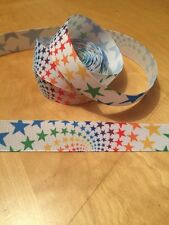 Brand New - 1 Metre Rainbow Coloured Star Design Grosgrain Ribbon 22mm