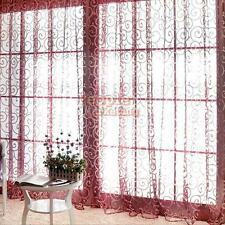 Solid Tulle Voile Door Window Curtain Drape Panel Sheer Scarf Valances For Home