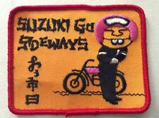 Vintage Patch NOS Suzuki Go Sideways  Motorcycles Biker 70s Rat Hot Rod Funny