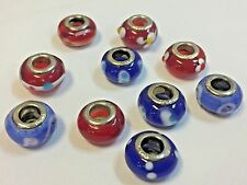 Sterling Silver 925 Core Red Blue Murano Bead Charms Lot of 10