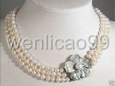 3 Rows 7-8mm White freshwater Cultured Pearl Necklace Shell Clasp