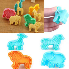 4Pcs Animal Lion Cookie Cutter Fondant Plunger Cake Decorating Mold DIY