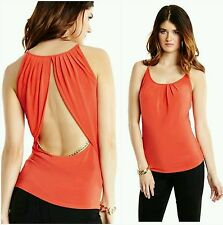 GUESS BY MARCIANO ORANGE Anya Chain Tank SIZE S