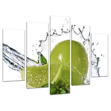 Set of 5 Lime Green Canvas Wall Art Prints Pictures Kitchen Diner 5057