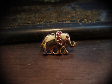 Tiny Elephant Brooch Clutch Pin with Ruby Red Crystals 22ct Gold Plated