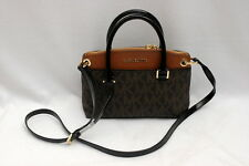NWT Michael Kors Aubrey Signature PVC Small Satchel Crossbody Bag Brown Luggage