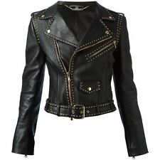 NEW Authentic Alexander McQueen Women's Gold Studded Black Leather Moto Jacket
