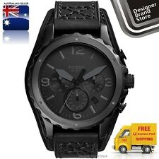 NEW FOSSIL MENS NATE WATCH ALL BLACK IP STEEL LEATHER CUFF CHRONO JR1510 MELBRNE