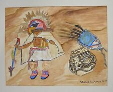 "Patricia Lawrence Watercolor Native American 1997 Signed Painting 11.25"" x 15"""