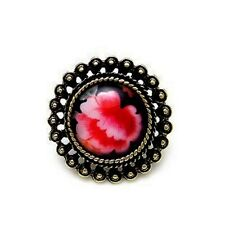 Adjustable vintage Art Deco style resin flower ring