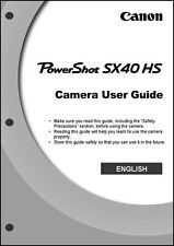 Canon Powershot SX40 HS Digital Camera User Instruction Guide  Manual
