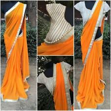 BEAUTIFUL DESIGNER PARTY WEAR ORANGE COLOR PEARL WORK  BLOUSE SAREE