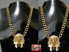 Pharaoh Gold Crystal Necklace Iced Out Hip Hop Chain Cuban Egyptian King Tut