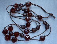 fine simulated honey amber plastic  bead necklace
