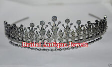 11.60ct ROSE CUT DIAMOND ANTIQUE LOOK WEDDING 925 SILVER HAIR JEWELERY FOR TIARA