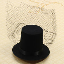 Black Hair Clips Veil Mini Top Hat Fascinator Burlesque Punk