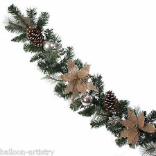 1.8m Luxury Christmas Silver & Burlap Poinsettia & Cone Garland Decoration