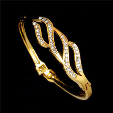 Hot Sale 18K Yellow Gold Filled Austrian Crystal Cuff Bangle Bracelet Wholesale