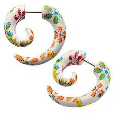 Earrings fake faux tapers PAIR body piercing jewelry ear w40 spiral beach flower